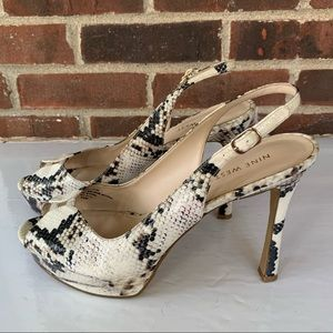 Nine West snake print peep toe sling back heels